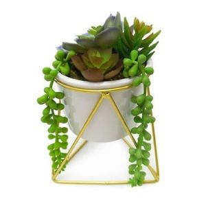 Modern geometric plant stand faux succulents